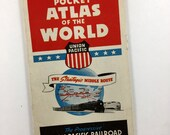 1939 Pocket Atlas of the World. Union Pacific Railroad. The Strategic Middle Route. Fold Out Mini Atlas. Exceptional Condition. WWII Era.