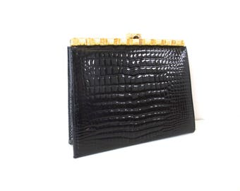 Vintage Cocktail Clutch // Peck & Peck Black Embossed Patent Leather