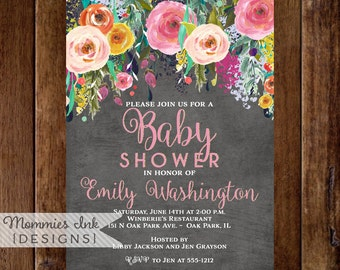 Baby Shower Invitation, Floral Watercolor Invitation, Floral Invitation, Chalkboard Shower Invitation, Spring Flower Invitation, Modern