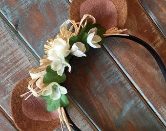 Bear ear headband with flowers
