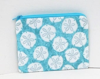 Small Zippered Pouch, Turquoise Coin Purse, Sand  Dollar Seaside Dreams