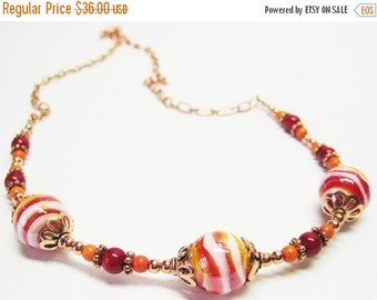 40% off Red Marble Lampwork Necklace - Red Jewelry - Gemstone Necklace - Copper Jewelry - Womens Necklace - Colorful Jewelry