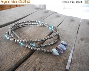 The Autumn Dusk Turning Leaves Necklace. Hand Strung Beaded Silver & Aqua seed Beads, Blue Lavender Amazonite Leaf Boho Fall ooak Necklace