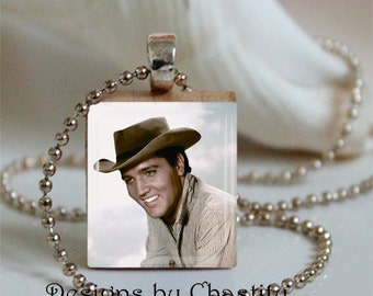 Elvis Presley Necklace Scrabble Charm Smile Cowboy Hat
