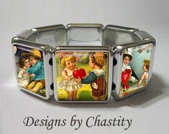 Valentine Charm Stretch Bracelet - Vintage Postcard Altered Art - Unique