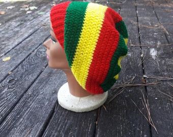 red yellow green Rasta hippie slouch beanie hat