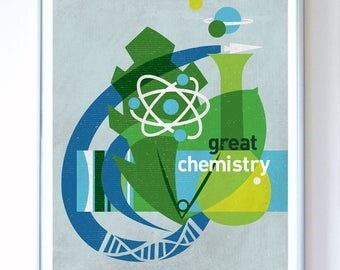 Great Chemistry, Science Poster Art Print Science Illustration Poster - Wall Art - Stellar Science Series™