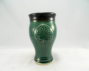 Celtic Pint Pilsner Beer Mugs Green Glaze Stoneware Pottery with Carved Celtic Knot Work Design Dinnerware Tumbler Tableware Barware costume