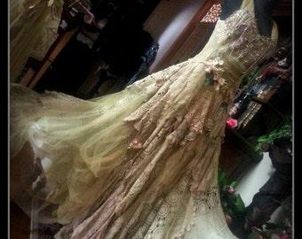 Vintage Bridal Wedding Gown Dress Genuine Antique & Vintage textiles Bohemian,gothic
