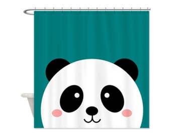 KAWAII PANDA TEAL Kids' Shower Curtain - Great For Boys and Girls/Shared Bathrooms