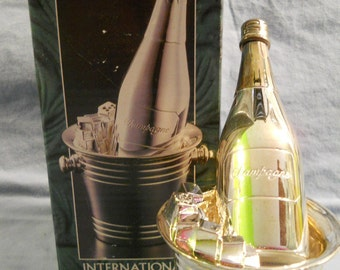 """International Silver Salt and Pepper Shakers Champagne & Bucket 5 3/8"""" w/ Box 1998"""