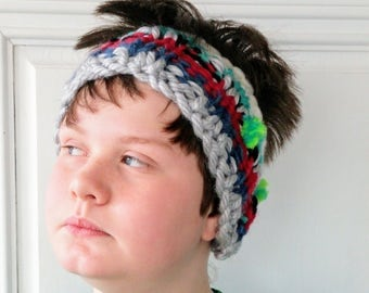 Earband, Thick, Stripes - Silver, Blue, Red, Green, White - Cycling, Skiing, Skating, Snoeshoe, Hiking