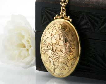 Vintage Locket | Birks Gold Filled Locket | Large Engraved Oval Birks Locket Necklace | Victorian Revival Photo Locket - 34 Inch Long Chain