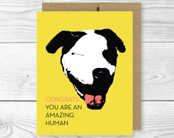 Funny Dog Card,  Congratulations PitBull