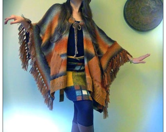 Upcycled Stripey Cape Poncho Earth Tones                       Made in England UK