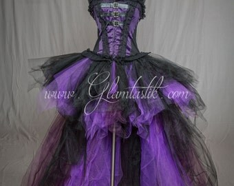 Ready to ship size medium Purple Plum and Black lace buckle Witch Burlesque Corset Halloween dress