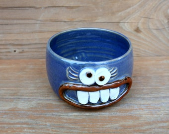 Fall Chili Bow Blue Handmade Ceramic Stoneware Pottery Soup Bowls. Womans Funny Face Breakfast Morning Cereal. Microwave Dishwasher Safe.
