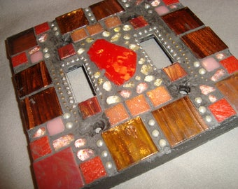MOSAIC LIGHT SWITCH Plate Cover - Double, Wall Plate, Bronze, Red, Gold