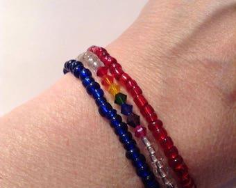 Pride Patriotic (Pridetriotic) Beaded Stack Bracelet