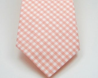 Peach Gingham Necktie Peach Necktie Mens Neckties Wedding Neckties Groomsmen Neckties