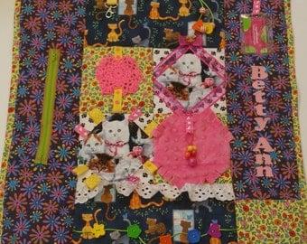 "Kitty Fidget Blanket / 25"" x 25"" / Alzheimer's Stroke Rehabilitation Dementia Patient Restless Sensory Blanket / FREE NAME"