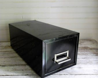 Vintage Metal Drawer, File Drawer, Industrial Metal Card File Drawer, Black Metal 1960s 1970s Metal File Drawer, Organizing, Storage Drawer