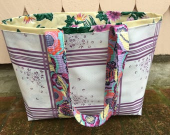 Swedish plaid large oilcloth tote in lilac