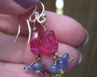 SALE --Handmade Genuine Hot Pink Sapphire Nugget/Tanzanite Sterling Silver Earrings