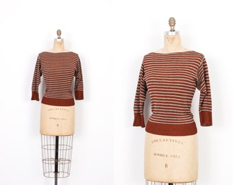 Vintage 1970s Top / 70s Knit Striped Sweater / Brown and Blue ( small S )