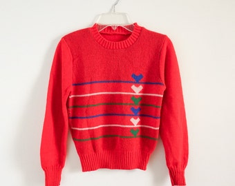 """REDUCED Vintage 1980s Girls Size 7 Sweater VGC / chest 30"""" length 18"""" / Stripes and Hearts Pullover Sweater"""