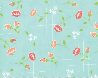 LuLu Lane Moda Floral Meadow Wispy Spring Flowers and Buds Fabric on Aqua Blue 290201 19