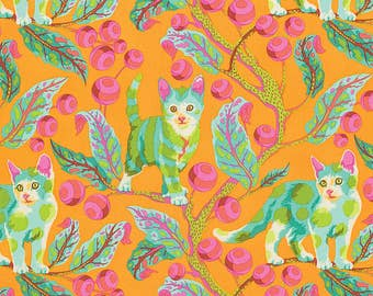 Tabby Road Tula Pink Disco Kitty Cat Kitten Fabric Hidden Forest on Orange Marmalade Skies