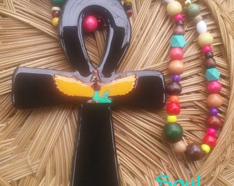 Ankh with Maat tiki Necklace