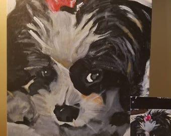 "Dog or pet portrait on 11""×16""×2"" canvas"