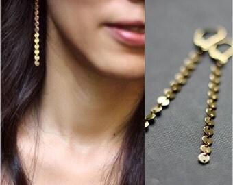 Long Modern Tiny Discs Earrings/ 14K Goldfilled or Sterling Silver