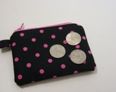 HOLIDAY SALE  Free US Shipping. Zipper Coin Purse, Change Purse, Keyring Purse. Black and Pink Dots. Ready to ship.