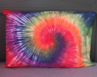 Spiral Tie-Dyed Pillowcase - Rainbow with Red and Blue