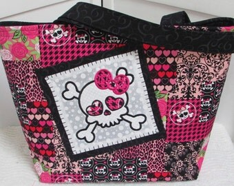Patch Work Skull Large Tote Bag , Girly skull Embroidery , Pink and Black Hounds Tooth Check Purse , Ready To Ship