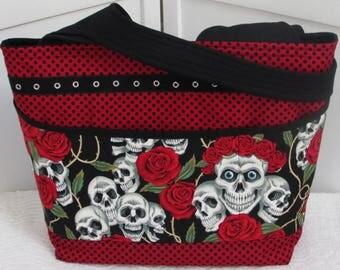 Skulls and Roses Large Tote Bag Rockabilly Skulls Shoulder bag Tattoo Skulls Purse Red and Black Alternative Fashion bag Ready To Ship