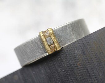 Men's Rough Diamond Cube Wedding Band 22K Yellow Gold Wide Silver Ring Rustic Hammered Texture Modern Mixed Metal Brown Gray For Him - Earth
