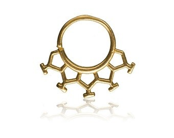 HoneyComb Silver Gold Septum Ring, Septum Ring, Gold Septum Ring, Septum Piercing, Septum Jewellery, Tragus Ring, Cartilage Ring, Nose Ring