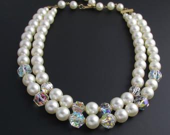 Laguna Faux Pearl Necklace, Aurora Borealis Bead Necklace, Crystal Bead Necklace, White Necklace, Bridal Necklace, Double Strand Necklace