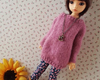 Pinkish mauve mohair sweater for big girls MSD Minifee Dami Elfdoll KID Iplehouse