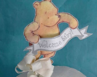 Classic Pooh bear cake topper, fabric Winnie the Pooh baby shower party decoration E174 baby shower topper