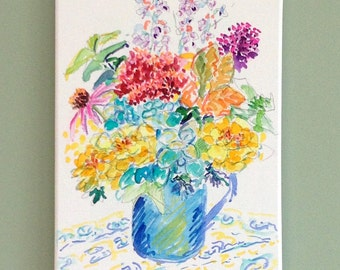 Wildflower bouquet painting