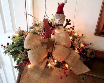Lighted Christmas Arrangement / Lighted Holiday Arrangement / Snowman Floral Arrangement / Snowman Basket Dried Flowers / Floral Snowman