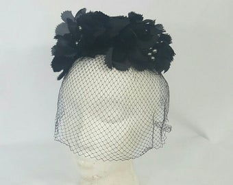 1950s Silk Floral Black Netted Bird Cage Pillbox Derby Hat Fascinator