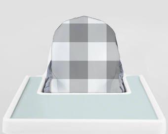 Grey Buffalo Check // IKEA Antilop Highchair Cover // High Chair Cover for the PYTTIG Cushion // Pillow Slipcover