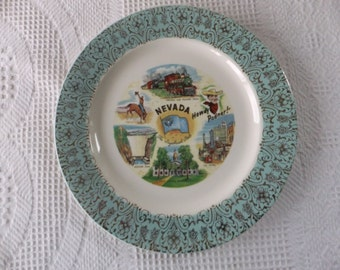 Vintage Turquoise Nevada Souvenir State Plate Large 10 Inch Decorative Collector Retro Wall Decor Travel Vacation