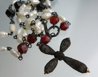 Victorian Mourning Hair Cross Necklace